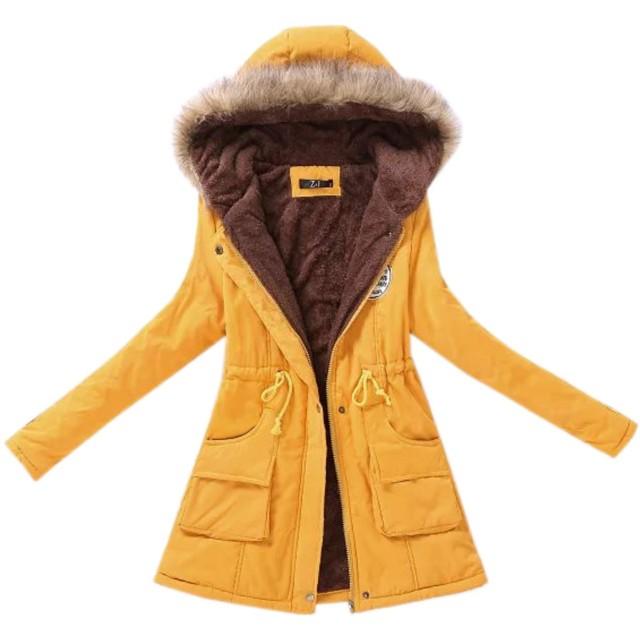 Elonglin レディース 中綿コート フード付き モッズコート アウター コート ジャケット ロングコート 裏ボア コート 裏地起毛 スウェット カジュアル ミリタリー エレガント 防寒 冬服 暖かい 大きいサイズ 黄色 S-4L