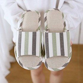 [xinxinran] スリッパ ルームシューズ 室内履き 春夏 麻 滑り止め メンズ レディース 来客用 (28~28.5cm, グリーン3)