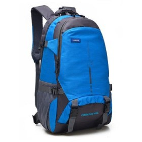[エスビージェー] リュック バックパック 大容量 45L メンズ レディース リュックサック 防水 登山 サイクリング 旅行 通学 カラビナ レインカバー 3点セット (青 ブルー blue)