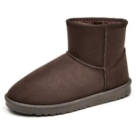 [ジョイジョイ] ムートンブーツ ミドルカット メンズ スノーブーツ ファー付き ウィンター カジュアルシューズ 厚底 ノンスリップ クラシック 冬用 おしゃれ 男性用靴 スニーカー フワフワ アウトドア ショートブーツ