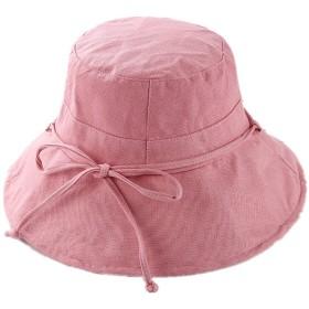 5W 帽子 レディース UVカット アウトドア バケットハット 可愛い 小顔効果抜群 綿麻素材のオシャレな シェードハット 日よけ 折りたたみ つば広 自転車 飛ばない 園芸作業 春 夏 サイドリボン(桃色)