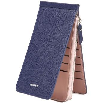 gutbene カードケース クレジットカードケース 大容量 薄型 26枚カード収納+ファスナーポケット 財布 長財布 ウォレット 小銭入れ カード入れ カードホルダー(ブルー)