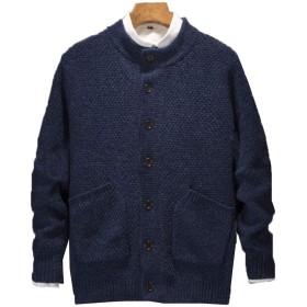 [ベィジャン] メンズ ニット セーター 開襟 無地トップス おしゃれ かっこいい カジュアル 秋冬 ネイビー 2XL