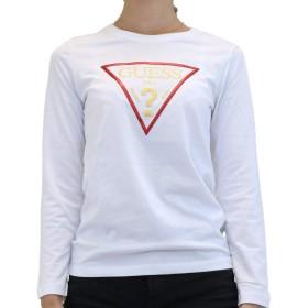 GUESS(ゲス) レディース ロングスリーブ Tシャツ YI2K8406LS トライアングルデザイン長袖 ロンT (XS, ホワイト)