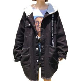 REHOODN デニム ジャケット レディース 春 秋 長袖 ジャンパー ジージャン ゆったり コート ジャケット アウター BF風 カジュアル シンプルブラックF