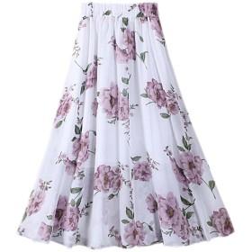 Cozy Maker(C&M)スカート レディース ロング 春夏 サーキュラースカート シフォン 抜け感 長さ ボヘミアン かわいい 広幅 ビーチボヘミアン 通勤 通学 チュールスカート フレアースカート 花柄 着丈:80CM (ワンサイズ, ホワイト)