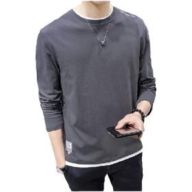[パンプアップ] メンズ 重ね着風 Tシャツ ゆったり Uネック M 〜 2XL (グレー, M)
