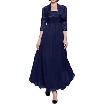披露宴用母親ドレス ロングドレス 結婚式母親用ドレス 新婦の母ドレス 半袖 ベスト付き Aライン カラードレス 肩紐ドレス ベルト 背中美人 紺 ブラック パーティードレス ワインレッド ダークグリーン レース アップリケ ひだ-9-紺色