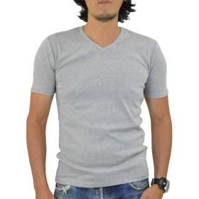 アダマス Uネック Vネック 半袖 Tシャツ メンズ 無地 フライス XL Vネック・杢グレー