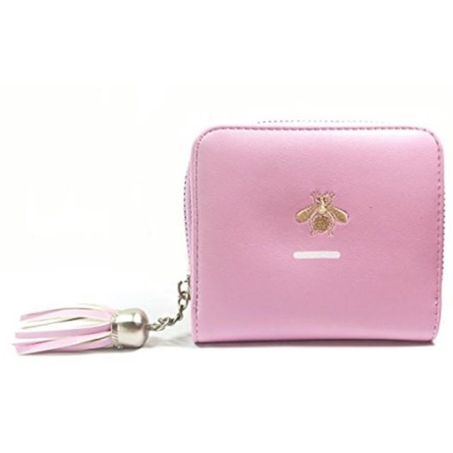 長之瑞(Choreal)ミニ財布二つ折り可愛い財布レディース花柄小銭入れカード収納コインケースカードケース多機能シンプル上品6色選択可(バラ色)