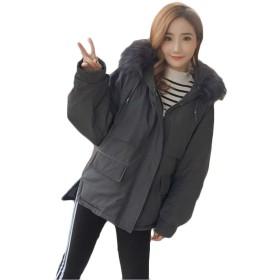 [ユリカー] レディース ダウンジャケット冬 厚手 中綿コート 無地 フード付き ショートコート 着痩せ アウター 韓国風 ファッション 綿入れ 軽量 大きいサイズ グレーXL