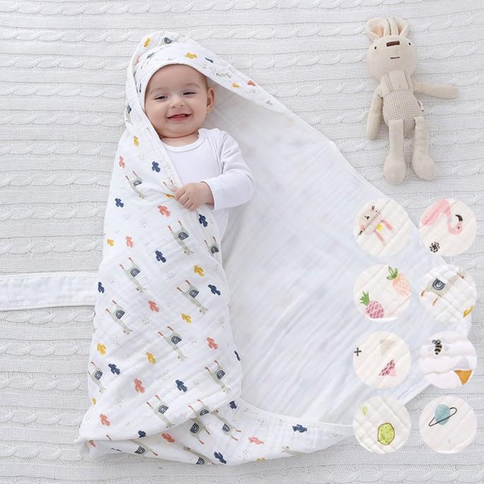春秋夏薄款水洗純棉紗布新生兒包被 包巾 新生兒 嬰兒 橘魔法 現貨【p0061190809571】