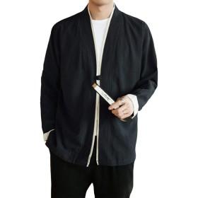 メンズ 和式パーカー カーディガン コート 無地 和風 羽織 一つボタン シンプル トップス ゆったり カジュアル おしゃれ 大きいサイズ 個性 黑 M