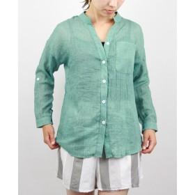 nico nimo (ニコニモ)綿麻シャツレディース 心地よい肌触り きれいめシャツレディース 綿 麻ブラウス シンプルシャツ 透け感 柔らかブラウス (S グリーン)