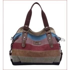キャンバス バッグファッション ステッチハンドバッグ 【トレンドレインボウストライプ】 大容量 手提げバック