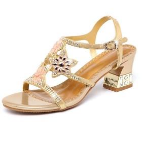 [イノヤ]サンダル レディースサンダル 女性用サンダル ハイヒールサンダル ラインストーン ビジュー 外でスリッパ シューズ パーティー サンダル 靴 5cm 小さいサイズ 金色おしゃれ 21.5cm