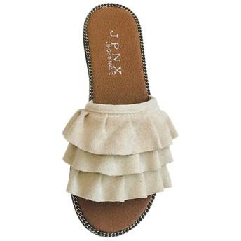 Fashion maker(F&M)ミュール レディース フリル オープントゥ スエード調 シンプル 歩きやすい カジュアル フラット 美脚 全3色 大きいサイズ (25cm(FR40), オフホワイト)