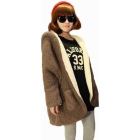 GuDeKeフード付けキ  レディース オシャレ冬服 ウールアウターコートコート ジャケットコート (コーヒ)