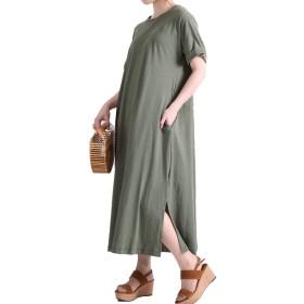 [ゴールドジャパン] 大きいサイズ レディース コットン リネン Tシャツ ワンピース 半袖 ロング ミモレ スリット wk-0125 LL-3L カーキ