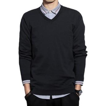 JHIJSC セーター メンズ vネック ニット セーター 秋冬 ゆったり 綿 無地 通勤 通学 (ブラック, XL)