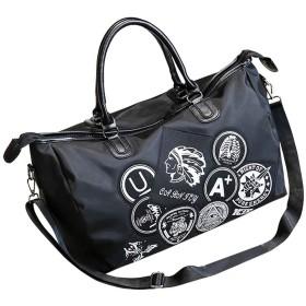 【アールモコ】ボストンバッグ 旅行バッグ 修学旅行 ゴルフトラベルバッグ ロック調 白黒柄 メンズ レディース