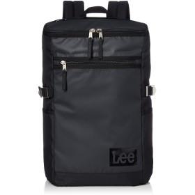 [リー] リュック 軽量 Leeボックスロゴプリント コーティング ボックス型 ブラックボディ×ブラックロゴ