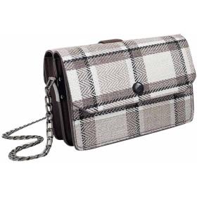 Gergeousレディース チェック柄 ショルダーバッグ ミニ 小さい バッグ 斜めがけバック 可愛い チェーン バッグ 肩掛けバッグ 韓国風(グレー)