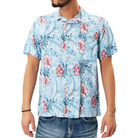 JIGGYS SHOP アロハシャツ メンズ 半袖 開襟シャツ オープンカラー 大きいサイズ 夏 無地 花柄 S ブルーフラワー