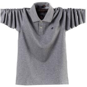ポロシャツ長袖メンズ おしゃれゴルフウェア スポーツウェア稀少 秋冬 大きいサイズ  (グレー, M)