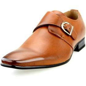 [エムエムワン] 撥水加工 低反発インソール ビジネスシューズ メンズ ロングノーズ 紳士靴 ブラウン 27.0cm