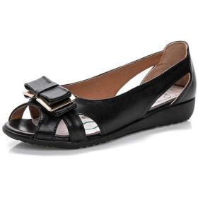 レディース サンダル ナースシューズ オフィス べたんこ ローヒール 大きいサイズ サイドオープン 夏 リボン クッション 痛くない 屈曲性 軽い 快適 安定感 柔軟性 通気性 歩きやすい 疲れない 看護師 婦人靴 黒