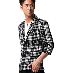 (キャバリア)CavariA メンズ テーラード ジャケット シェパード チェック柄 七分袖 細身 上着 羽織 44(M) 90(BLK/ブラック)【-】