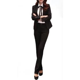 119本舗 レディ-ス ビジネス パンツ&スカートスーツ 単品スカート 事務服 セレモニー 結婚式(黒/灰/薄灰 M~3XL) (L, パンツスーツ タイプB/ブラック)