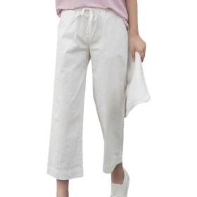 [美しいです] レディース ズボン ワイドパンツ 九分パンツ ハイウエスト ゆったり 綿麻ズボン 無地 カジュアルパンツ オシャレ ストレッチ ストレートOL  (2XL, ホワイト)