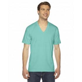 (アメリカンアパレル) American Apparel メンズ ファインジャージー Vネック Tシャツ 半袖 シャツ カットソー (XL) (ミント)