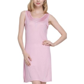 (MAYUDAMAシルク)ピュアシルク100% シルクニット ノースリーブ スリップ ロングドレス スカート ペチコート シルク パジャマ ルームウェア (M, ピンク)