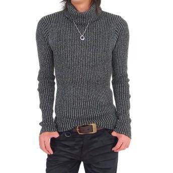 [トップイズム] タートルネック ニット メンズ セーター 2重臼編み タイト 無地 長袖 2-グレー L