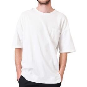 ビッグ Tシャツ メンズ カットソー ビッグTシャツ ワイド ポケット 半袖 無地T ビッグT ストリート 無地 白 ホワイト