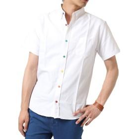 (アーケード) ARCADE シャツ 半袖 メンズ オックスフォード ボタンダウンシャツ 白シャツ カジュアルシャツ L ホワイト(カラーボタン)