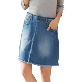 [クロスマーベリー] フリンジ デニム スカート ビンテージ ショート 切りっぱなし フレイドヘム ウエストゴム アシメ ポケット 大人 カジュアル きれいめ おしゃれ かわいい ジーンズ レディース 女性 ガールズ 大きいサイズ (W14 ブルー L)