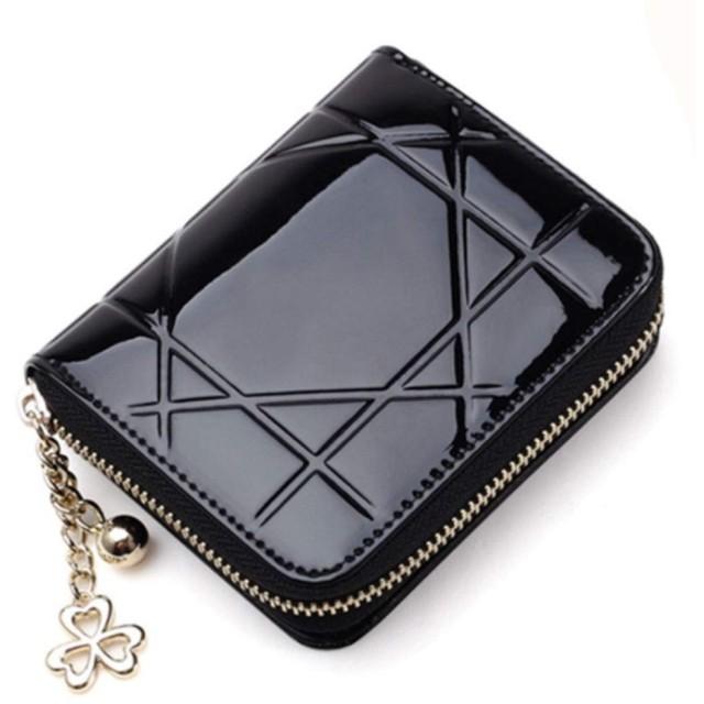 ICOUCHI 財布 二つ折り財布 レディース ミニ財布 小さい コンパクト ラウンドファスナー コインケース 大容量 カード入れ 小銭入れ 菱形模様 エナメル革 ブラック