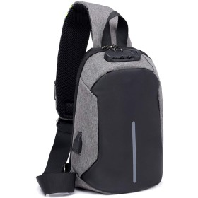 Y.J.C ボディバッグ メンズ 大容量 防犯 バッグ ipad ワンショルダー 前掛け 斜め掛け 肩掛け ショルダーバッグ 胸バッグ USBポート付き 軽量 防水 撥水 通勤 通学 ブラック グレー