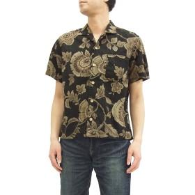 (備中倉敷工房) 和柄 オープンシャツ 25834 倉 花柄 メンズ 半袖シャツ 和柄シャツ ブラック (M)