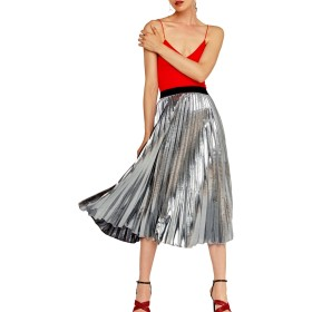 YACUN 女子プリーツスカートラインスウィングミディスカート Silver XL
