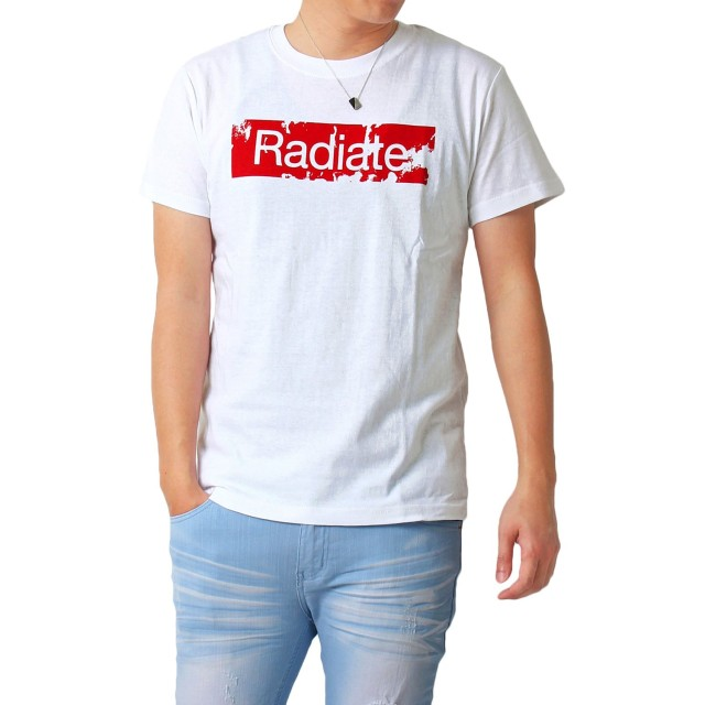 [イナセ] Tシャツ メンズ 半袖 ボックス ロゴ プリント クルーネック 1-ホワイト LL