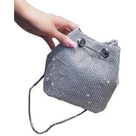 [エージョン] レディース バケツバッグ バッグ カバン 輝く クロスボディバッグ ハンドバッグ メッセンジャーバッグ 個性 ショルダーバッグ 無地 ダイヤモンド ファッション シルバー