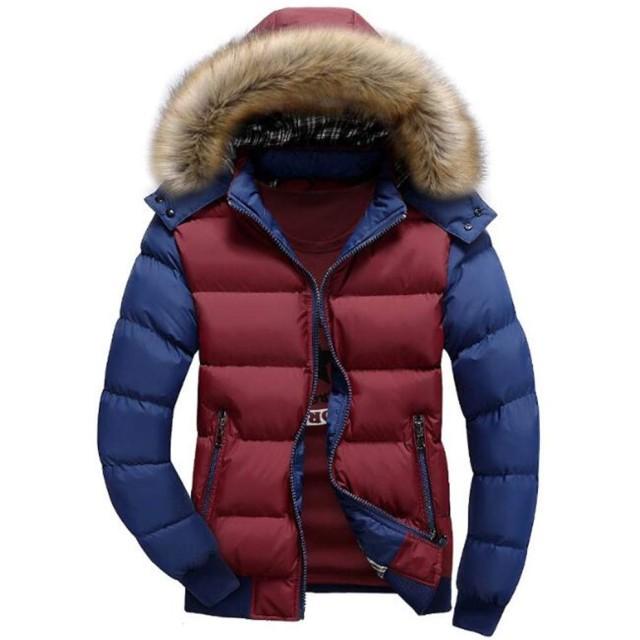 [リュハイ] ダウンジャケット メンズ ダウンコート 棉服 ファー 毛襟 フード付き 大きなサイズ 厚手 暖かい 通勤 防寒ジャケット レッド+ブルーXL