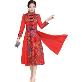 全国スタイル 女性の服 ロング ワンピース 改善されたスカート レディース シフォン ステッチング 綿とリネン 印刷 ドレス レトロ チャイナドレスS-3XL (M, レッド)