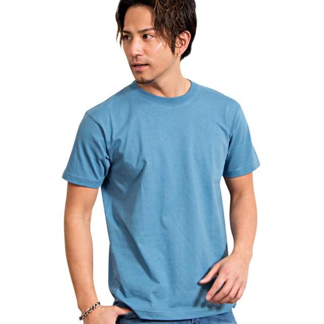 (キャバリア)CavariA メンズ 半袖 Tシャツ クルーネック ワンポイント ロゴ 無地 蛍光CAKK19-01 44(M) BLU(ブルー)【+】
