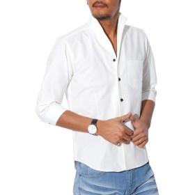 LUX STYLE(ラグスタイル) シャツ メンズ イタリアンカラー トップス 7分袖 綿 無地 ホワイトL